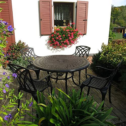 AMAZACER-08 - Juego de muebles de jardín (120 cm, 4 plazas, de aluminio fundido en arena, sin mantenimiento, ligero, resistente a la intemperie, acabado bronce antiguo, 4 sillas