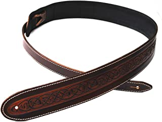 UK-Made Deluxe Celtic Knot LEATHER Guitar Strap - Acoustic Bass + 6 Free Picks