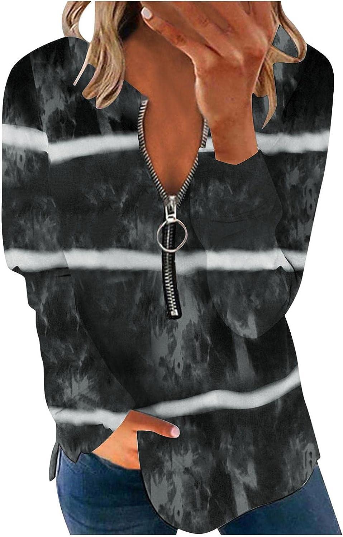 FABIURT Long Sleeve Tops for Women, Womens V Neck Stripe Print Zipper Pullover Sweatshirts Casual Loose Tee Shirt Blouse