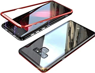 QLTYPRI Samsung Galaxy S8 Plus Case, Magnetic Adsorption Metal Case Aluminum Bumper 9H Tempered Glass Back Cover NO Screen Protector [Wireless Charging] Case for Samsung Galaxy S8 Plus - Clear Red
