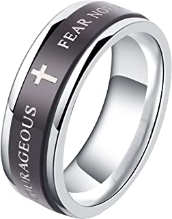 ALEXTINA 7MM Black Stainless Steel Bible Verse Isaiah 41:10 Joshua 1:9 Christian Ring Spinner Wedding Band Size 6 to 12