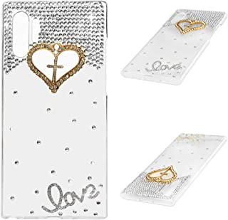 Galaxy Note 10 Plus Case (2019), Mavis's Diary 3D Handmade Luxury Bling Gold Love Heart Cross Shiny Crystal Sliver Diamonds Glitter Rhinestones Gems Clear Hard PC Cover for Samsung Galaxy Note 10 Plus