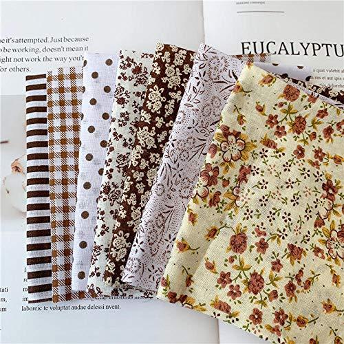 Tela de algodón con Estampado Floral,El Mosaico de 7 Piezas se Utiliza para Coser, Tela de Bricolaje Floral Hecha a Mano de algodón puro-25 * 25 cm,Telas de Algodón de Estampada Flores