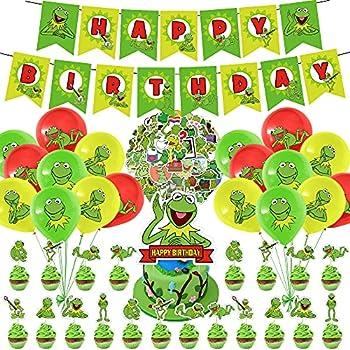100 Pcs Kermit The Frog Party Decorations Set Cute Cartoon Frog Theme Birthday Supplies Kermit Frog Stickers for Cartoon Party Supplies Decor