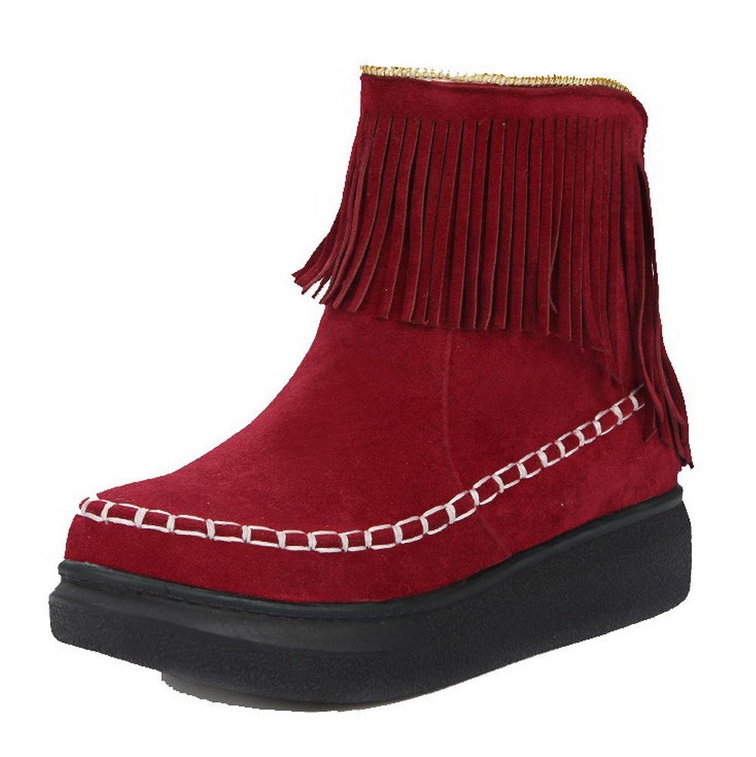 バーベキューリボンピュー(ウンファッション) WeenFashion レディース ヌバック ローヒール ラウンドトゥ フリンジ プルオン ブーツ