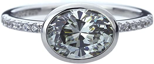 Double Accent Platinum Plated Sterling Silver 2ct Oval Grey CZ Bezel Wedding Engagement Ring (Size 5 to 9)