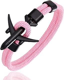 Fashion Airplane Anchor Bracelets Men Charm Rope Chain Paracord Bracelet Male Women Air Force Style Wrap Metal Sport Hook