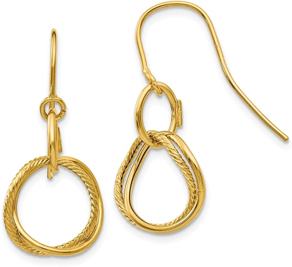 14k Yellow Gold Small Twisted Circle Shepherd Hook Drop Dangle Chandelier Earrings Fine Jewelry For Women Gifts For Her