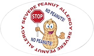 CafePress Severe Peanut Allergy Oval Bumper Sticker, Euro Oval Car Decal