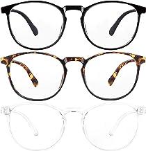 3-Pack Blue Light Blocking Glasses for Women/Men Blue Light Glasses for Teens, Square Computer Glasses Anti Eye Strain/UV/Glare, Gaming Glasses Reading Glasses Non-Prescription