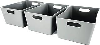 Lot de 3 paniers de rangement en plastique gris pour studio - Boîtes de rangement pour la maison ou le bureau - Convient p...