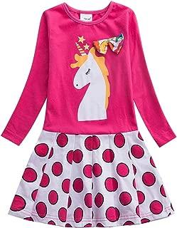 Áo quần dành cho bé gái – Kids Cotton Girls Long Sleeve Dresses Cartoon Animal Polka Dot Casual Dress 3-8 Years