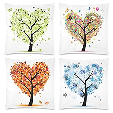 InterestPrint 4 Pack Heart Shape Seasonal Tree of Life Pillow Case Cover 18x18 Twin Sides, Colorful Spring Summer Fall Winter Love Tree Zippered Throw Cushion Pillowcase Protector for Valentine's Day