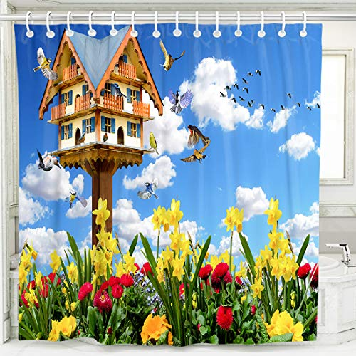 Spring Landscape Shower Curtains Waterproof Fabric Custom Bathroom Decor...