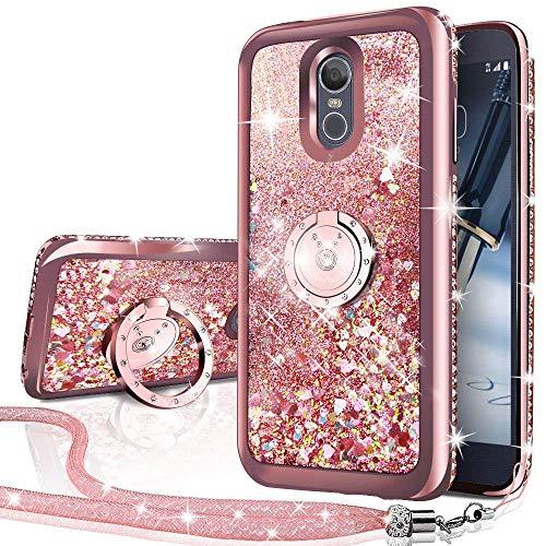 Silverback Kompatibel mit LG Q7 , LG Q7 Plus , Silverback bewegliche Flüssigkeit, holografische Glitzer-Hülle mit Ständer, Bling Diamant Bumper LG Q7/Q7 Plus Hülle für Mädchen & Frauen RD