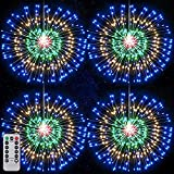 Solar Powered Firework Lights ,120 LED 8 Modes Fairy String Lights Copper Wire Twinkle Lights with Remote Control,Waterproof Decorative Hanging Starburst Lights for Christmas Patio, Wedding Decoration