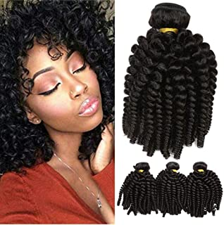 Brazilian Virgin Funmi Human Hair Bundles Spiral Curl Hair Weave Bundles Short Curly Weave 8A Unprocessed Virgin Human Hair Extensions 100g/pc Natural Color (16 18 18inch)