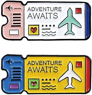Angoter 2Pcs / Set Air Biglietti Spilla Viaggio Pin del Risvolto dello Smalto Pin Spilla Badge Abbigliamento Accessori Regali