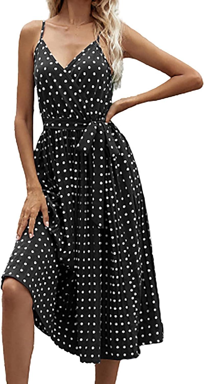 Sun Dresses Women Summer Women Fashion Dot Print Long Sleeve V-Neck Casual Sundress Dress Womens Dresses