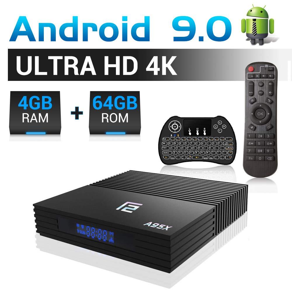 Android TV BOX, A95X F2 Android 9.0 TV BOX 4GB RAM 64GB ROM Amlogic Quad-core A53 (S905X2) 2.4G/5G Dual WiFi/USB 3.0/BT 4.2/H.265/4K 3D Smart TV BOX con mini teclado retroiluminado inalámbrico: Amazon.es: