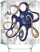 Rustic Octopus Shower Curtain Blue Ocean Underwater Creature Bath Curtain Nautical Themed Fabric Curtain for Bathroom Deco...