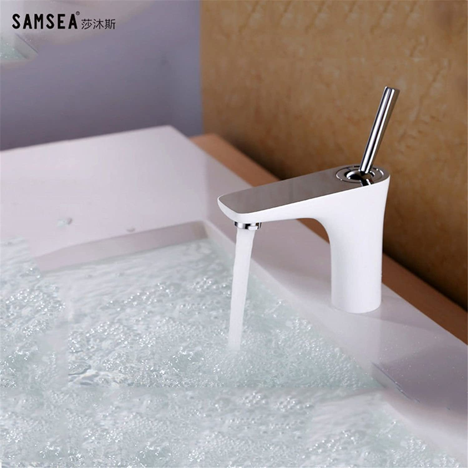 Fbict White Paint Basin Faucet Bathroom Bathroom Above Counter Basin Sink Copper hot and Cold for Kitchen Bathroom Faucet Bid Tap