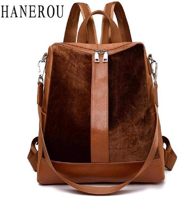 BagPrimer Patchwork Backpack Lady Travel Backpack School Shoulder Bag Daypack (Brown)