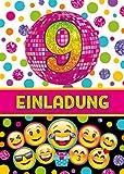 JuNa-Experten 12 Einladungskarten zum 9. Kindergeburtstag für Mädchen / Einladung neunte Geburtstag / Einladungen zum Geburtstag / Kartenset für Kindergeburtstag / Glitzer