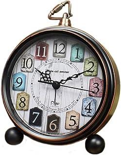 JUSTUP Retro bordsklockor, 13,2 cm icke-tickande gammaldags stil väckarklocka med kvartsrörelse batteridriven HD-glaslins ...