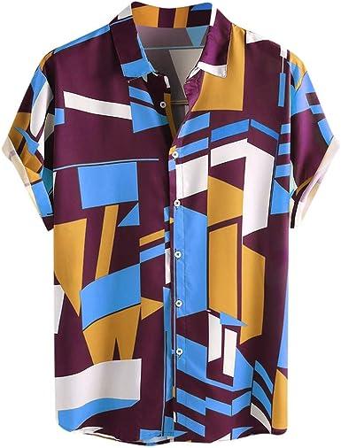 Dragon868 Camisa Hawaiana Hombre Manga Corta Verano 2020 Camisas Sueltas con Estampado geométrico