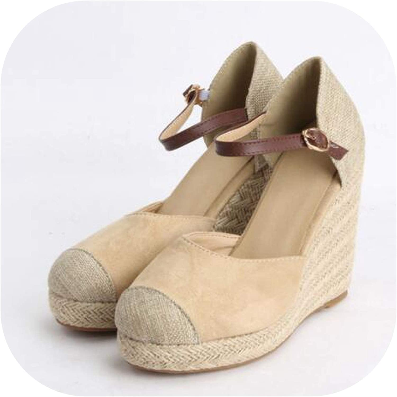 YuJi Women Sandals Summer shoes Platform Wedges Heel Ankle Strap Bohemia Espadrille Sandals,Beige,10.5