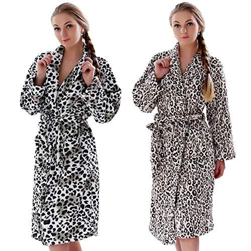 qiangdedianzishang Leopard Coral Fleece Albornoz cálido Ropa de Dormir Kimono Bata Ropa de Dormir Albornoz BL