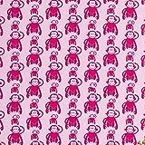 Jersey Stoffe Vincent Retro Affen rosa pink 1,00m x VB