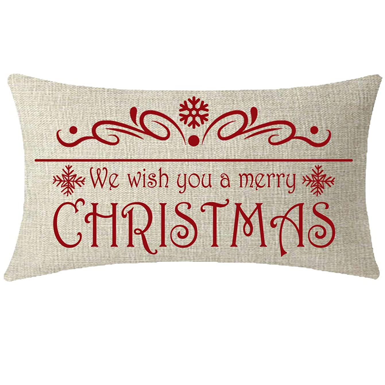 NIDITW Nice Sister Mother Gift We Wish You A Merry Christmas Floral Snowflakes Lumbar Waist Beige Cotton Linen Decorative Throw Pillowcase Cover Cushion Case for Sofa Chair Oblong 12x20 Inches