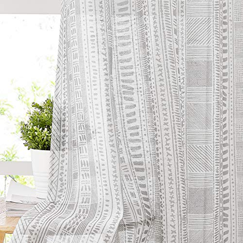 """NICETOWN Natural Linen Flax Sheer Window Curtains with Boho Style, Grommet Modern Geometric Pattern Vertical Drapes Privacy for Bedroom/Kids Room, 50"""" Wide by 63"""" Long, 2 Pieces, Grey"""