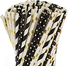 Paper straws for drinking, disposable biodegradable cocktail straws, perfect for Birthday, Party Supplies , Baby shower, W...