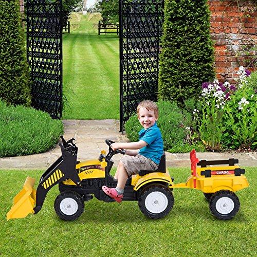 HOMCOM Kids Children Ride On Toy Car Excavator Tractor Digger Dumper Yellow