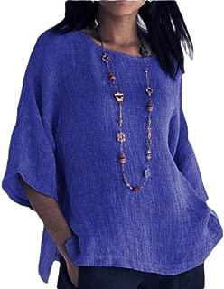Womens Tee Loose Cotton Linen Blouse Round Neck 3/4 Sleeve Blouse T Shirt
