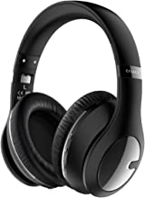 Criacr Bluetooth Headphones Over Ear, Soft Earmuffs, Built-in Microphone, Foldable Lightweight Wireless Headset with Hi-Fi Stereo, 3.5mm Audio Jack, for Mobile Phone, Tablet, TV, PC - Black