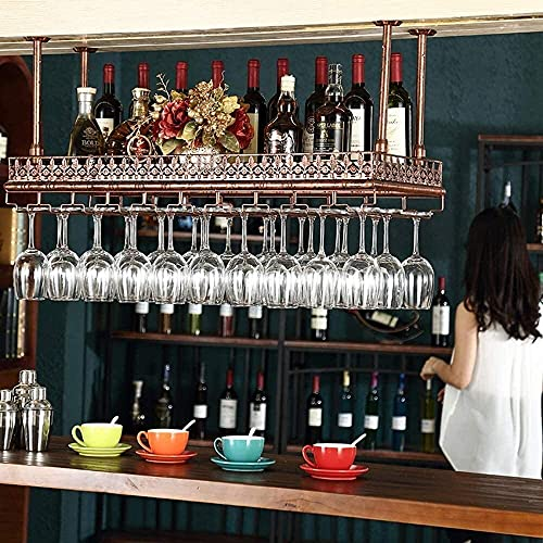 JYDQM Estante de Exhibición de Vino, Estante de Vino con Soporte de Vidrio, Soporte de Botella de Rack de Vino Montado en la Pared, Estante, Estante, Estantería, Tenedor de Vidrio, Alenamiento,Bronce