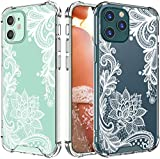 Cutebe Cute Clear Crystal Case for iPhone 12,for iPhone 12 Pro 6.1 inch 2020 Released,Shockproof Series Hard PC+ TPU Bumper Yellow-Resistant Protective Cover for White Floral Design for Women,Girls