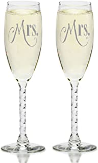 Mrs. & Mrs Champagne Flutes With Gift Box - Gay Couple-Hers and Hers Same Sex - Engagement, Wedding, Anniversary, House Warming (Silver)