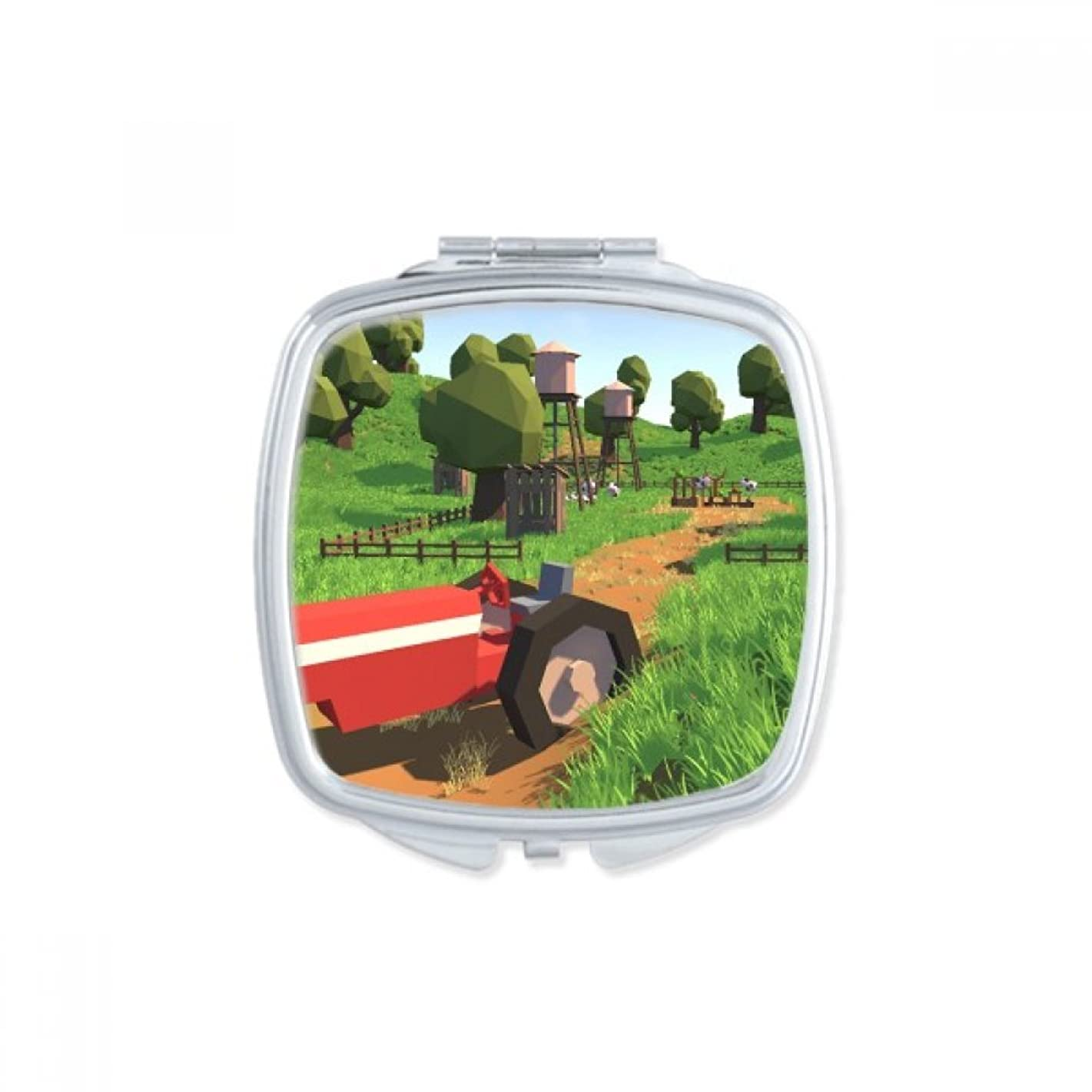 Farm Game Truck Scene Square Compact Makeup Pocket Mirror Portable Cute Small Hand Mirrors Gift