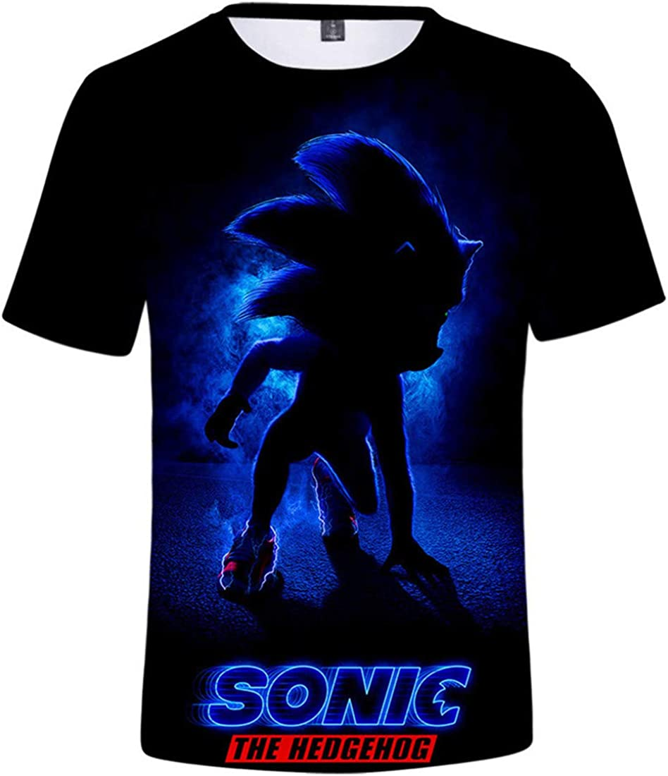 Takyojin 3D Printed Sonic The Hedgehog Kids Short Sleeve Shirts Casual Graphics Tops Tee for Girls and Boys