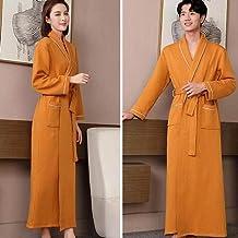 ZZJHH Herfst verlengd kimono gewaad, homewear pyjama, paar pyjama badjas, oranje, Heren XXL