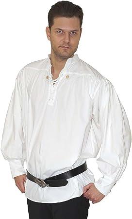 Maylynn 15224 - Camisa Medieval de algodón. Camisa de Pirata Caytan, Blanca, Talla M