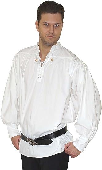Maylynn 15224 - Camisa Medieval de algodón. Camisa de Pirata Caytan, Blanca, Talla L