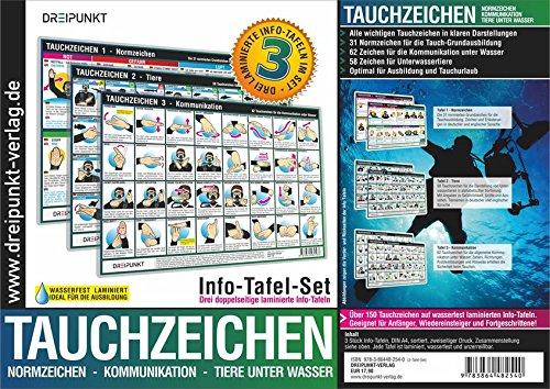 Info-Tafel-Set Tauchzeichen: 3 laminierte Info-Tafeln mit über 150 Tauchzeichen für die sichere Kommunikation unter Wasser