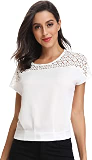 Mia Pristine Women's Shoulder Pattern Round Neck Blouse T-Shirt Tunics Tops