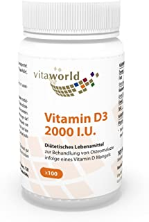 Vitamina D3 2000 I.U 100 Cápsulas Vegetales Vita World Farmacia Alemania